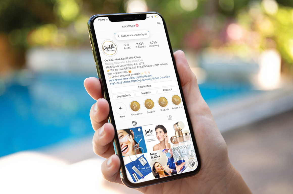 Instagram design for a medical spa