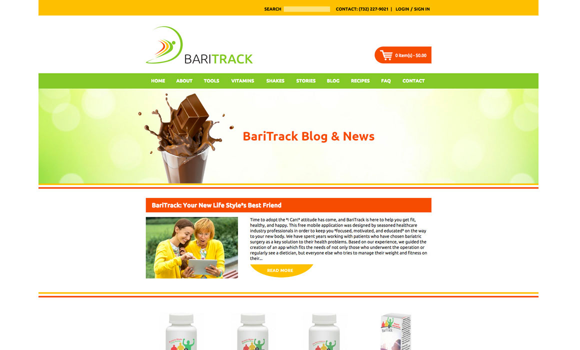 Website for vitamin company